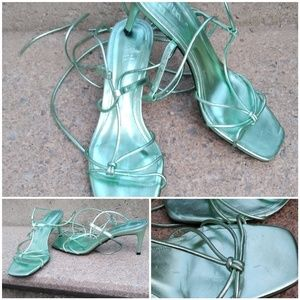 Zara Metallic green strappy tie sandal